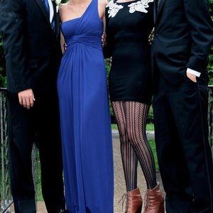 One shouldered blue BCBG dress